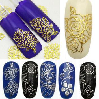 1 лист женщины блестящий модный горячего тиснения 3D цветок ногтей наклейки маникюр ...