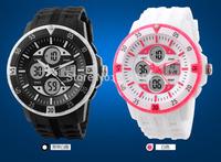 50 meters diving waterproof wristwatch Japan movement analog digital running watch PU strap EL backlit stopwatch women men steel