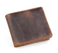 New Luxury Vintage Designer Dark brown Crazy Horse Leather Wallet Men Short Cowhide purse /card holder Zipper  Bag