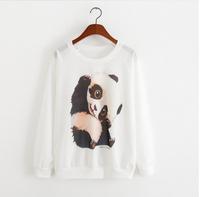 2015 winter Hot sale!!women hoody panda printing tops Long sleeve sports Pullover Casual Sweatshirt Sweatshirts Cotton Hoodies