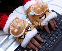 Legend Armored dragon turtle Rammus Gloves Plush Gloves. Half Gloves Anime Game Gloves