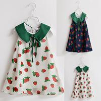 Sleeveless Girls Dresses New Designer 2015 summer print strawberry childrens clothing baby girl princess dress for chiffon HA060