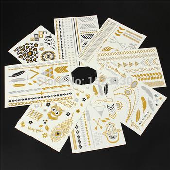 1 foglio del sesso gioielli in oro flash ispirata metallic tatuaggi temporanei bracciali collane adesivi tatuaggio di ancoraggio della farfalla della piuma