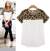 Plus size women clothing blusas camisetas femininas 2015 short sleeve chiffon blouse leopard print t shirt women tops C184