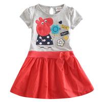 Fashion Peppa pig clothing cotton tutu dress baby girls wear child summer dresses vestido girl party dress cartoon clothes HA088