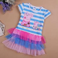 Stripe Peppa Pig Fashion tutu Girls Dresses cartoon kids Clothes For Baby Girl Princess Dress Brand lace children costume HA089