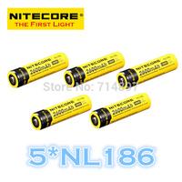 FREE SHIPPING ORIGINAL 5 Pcs NL186 Nitecore 18650 Li-ion Rechargeable Battery 2600mAh 3.7V 9.6Wh