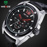 2015 Fashion Casual Men Sports Wristwatch Leather Strap Rhinestone Watches Luxury Brand 3ATM Japan Movement Quartz Analog