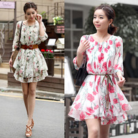 New Beautiful Summer Lady's Dress Women's Dresses Flower Printing 2 Color