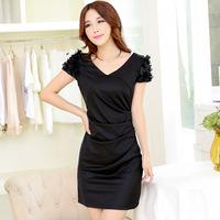 Winter new bride dress wear black toast banquet evening dress a short paragraph bag hip host female