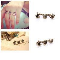 European Style Women 2 Rings Finger Guessing Game Rock Paper Scissors Ring 65310