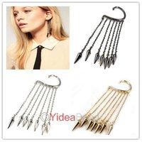 Punk Silver spikes rivets fringed tassel women's fashion ear cuff earrings 16pcs 260905-260907