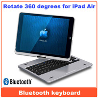 Wireless Bluetooth Keyboard Case Cover for Apple iPad air 360c Rotatable keyboard shell case with stand for ipad 5 drop shipping