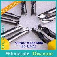 10pcs 6*22mm Import One Flute CNC Aluminum Bits, Engraving End Mills Carbide Milling Cutter Tool in Cutting Aluminum, MDF, PVC