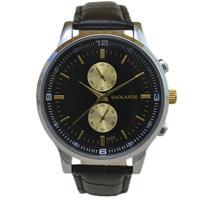 fashion black belt gold dial luxury man watch 2015 brand new small dial decoration japan quartz classic wristwatch top hour gift