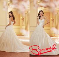 Vestido De Festa Longo Plus Size Romantic Wedding Dresses With Long Trains Long Bridal Gowns Dresses Vestidos De Gala RBW254