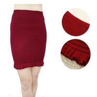 Spring autumn fungus edge falbala knitting bust skirts Super elastic slim package hip skirt black wine red and navy blue S12