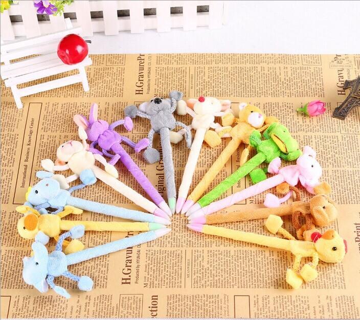 12pcs Ballpoint Pen Korean Creative Stationery Cartoon Animal Plush Head Toys Pen Gifts School Supplies Color Random(China (Mainland))