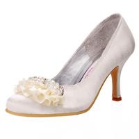 Big sale Free Shipping  EP11079 Ivory  US7/EU38 Almond Toe Mid Heel Ruffle Rhinestones Satin Wedding Bridal Shoes