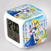 Sailor moon Mercury Mars Jupiter Venus Tuxedo Luna Artemis action figure Alarm Clocks Japanese Animation Glowing toys 12-22-YS