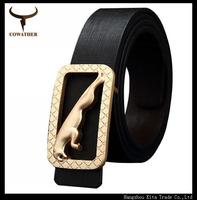 fashion belt golden leopard buckle genuine leather smooth buckle belts for men strap  leopard deisgn cowhide leather strap belt