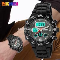 Free shipping 2015 fashion casual Man Steel waterproof watch electronic watches sports utility Black
