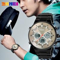 Free shipping 2015 fashion casual Man Steel waterproof watch electronic watches sports utility Black---jhbn