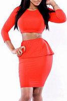 New Women 2 PC Casual Dress Set High quality Sexy Bodycon Ruffled High Waist Mini Skirt Set B5135 Fshow
