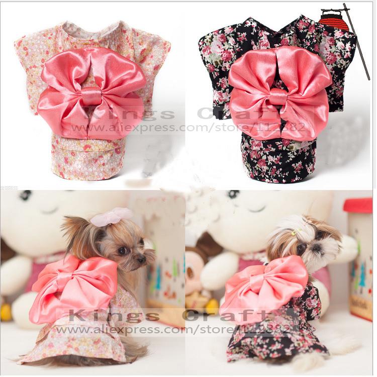 Female Pet Dog Cat Costume Kimono Clothes, Japanese Dress, Pet Product Clothing Free Shipping(China (Mainland))
