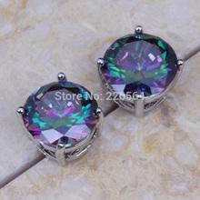 Free Shipping Rainbow Mystic Topaz 18K White Gold Plated Women's Stud Earrings E 304(China (Mainland))
