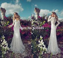 2015 nuevo por encargo Vestido De Noiva marfil / blanco satinado De manga larga vaina De encaje Vestido De Robe De Mariage(China (Mainland))