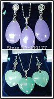 beautiful Fashion Set Gold Plated Nature Jade Pendant Earring Wholesale silver hook Fine Jewelry sets
