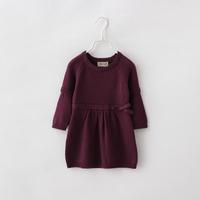 Baby Girls Sweater Dress Autumn Winter New Kids Solid Knitwear Cotton Fashion Brand Full Sleeve Children Clothing 5pcs /LOT