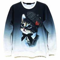 Cat With Hat / Cute Raccoon Men's Crewnecks  3D Hoodies Sweatshirts  Long Sleeve Outerwear Pullovers