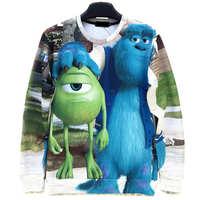 One Eye Monster Print Men's Crewnecks  3D Hoodies Sweatshirts  Long Sleeve Outerwear Pullovers