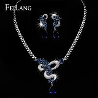 FEILANG Real White Gold Plated Dark Blue Sapphire AAA Cubic Zircon Flower Water Drop Necklace Earring Jewelry Set (FSSP102)