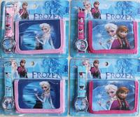Free shipping 4pcs lot 2015 fashion 3D cartoons frozen kids children watch fashion Wristwatch and wallet purse sets gifts