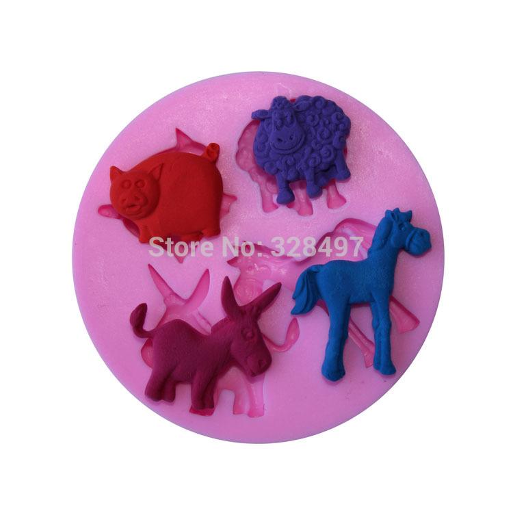 Cavalo vaca porco cão forma ferramentas de bolo Silicone molde de Silicone bolo 3D Bakeware geléia sabão ferramentas de doces decoração G026(China (Mainland))