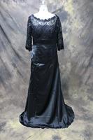 In Stock 2014 Elegant A-line Scoop Floor-length Evening Dress Lace Three Quarter Sleeve Long Evening Dresses 2014