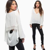 New Women Fashion V-neck Long-sleeve Lace Strapless Blouse Sexy Back Short Front Long Chiffon Shirt Swallowtail Free Shipping