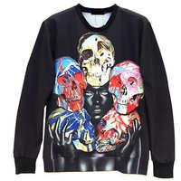 Skull Head Series Print Men's Crewnecks  3D Hoodies Sweatshirts  Long Sleeve Outerwear Pullovers