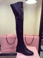 Free shipping 2014   Genuine Leather Winter Long Boots over knee Women shoes Flat Heel 35-39 1412238pl
