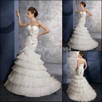 New Arrival Elegant Ivory Sweetheart Ruffled Organza Sew Flowers Mermaid Style Corset Wedding Dress 2015