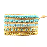 Natural Turquoise Leather Wrap Bracelet With Crystal New Design Handmade Wrap Leather Bracelet Free Shipping Beads Bracelets