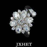Elegant and beautiful Size Adjustable Curve Band Design Flower CZ Finger Rings(JXHET-JZ010)