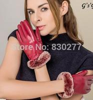 GSG   Ms.    Luxury Rabbit fur thick warm sheepskin gloves     IGSSBW13004