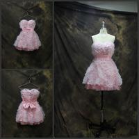 Cheap Price Sexy Strapless Romantic Flowers Bow A-line Mini Prom Dress Pink Prom Dresses vestido de formatura Party Dresses