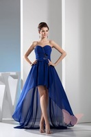 The front than the back short blue Strapless Prom Dresses
