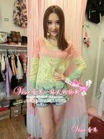 Casual Women Semi Sheer Full Sleeve Gradient Lace Crochet Blouse Top Vintage  Summer Ladies Tee T-Shirt