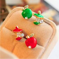 Free shipping!Original single foreign trade jewelry glaze red apple retro Studs Earrings asymmetric